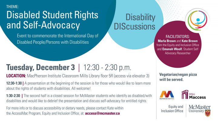 Disability DIScussion for Disabled Student Rights and Self-Advocacy poster.