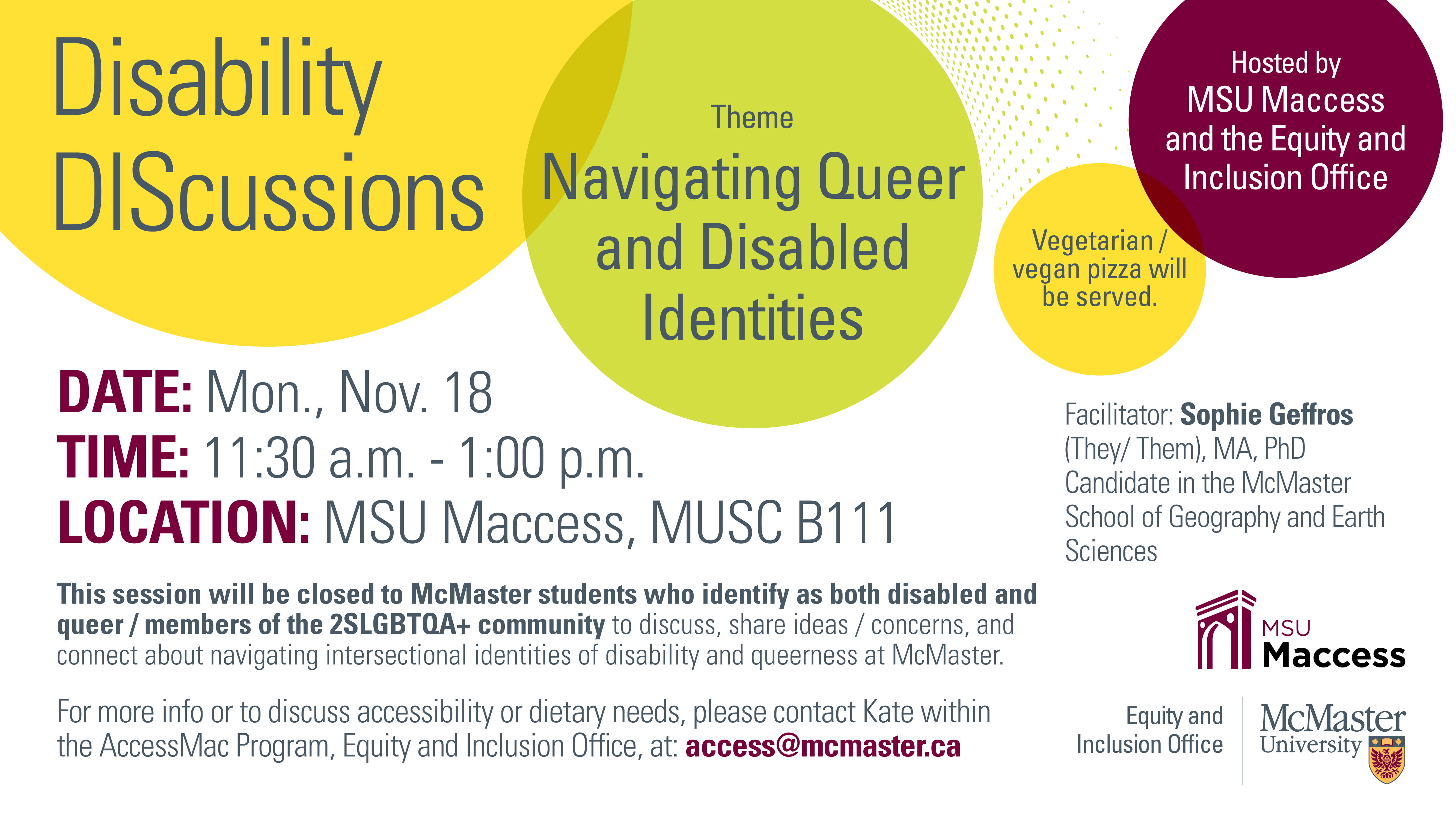 Official poster for Disability Discussions. The theme is