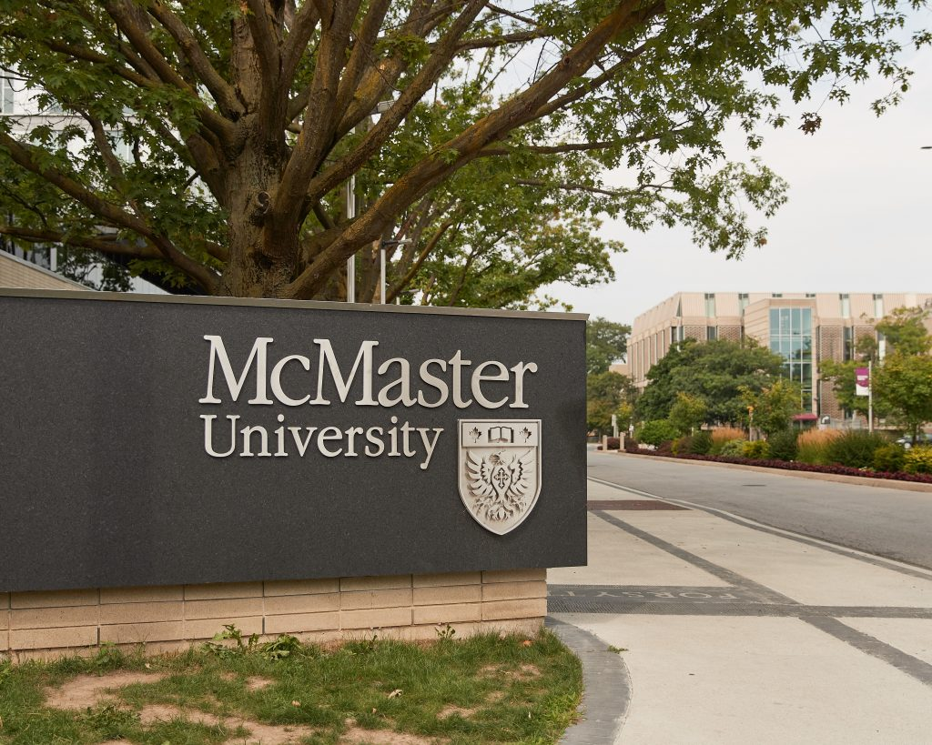 A picture of the McMaster University sign on campus.