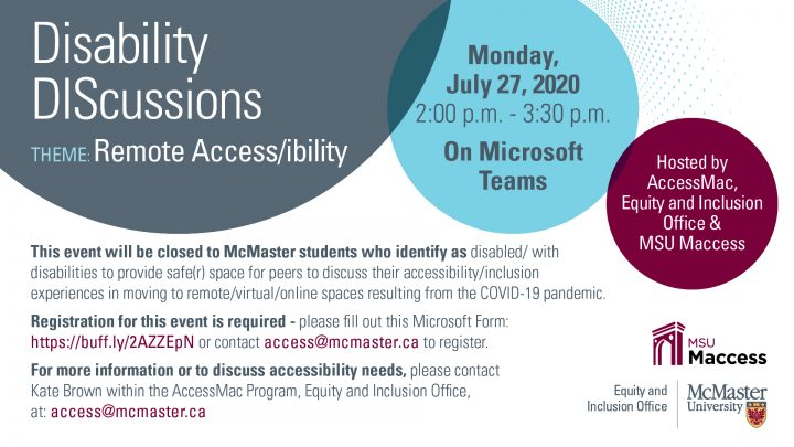 The official poster for the Disability DIScussion surrounding the theme of Remote Access/ibility.