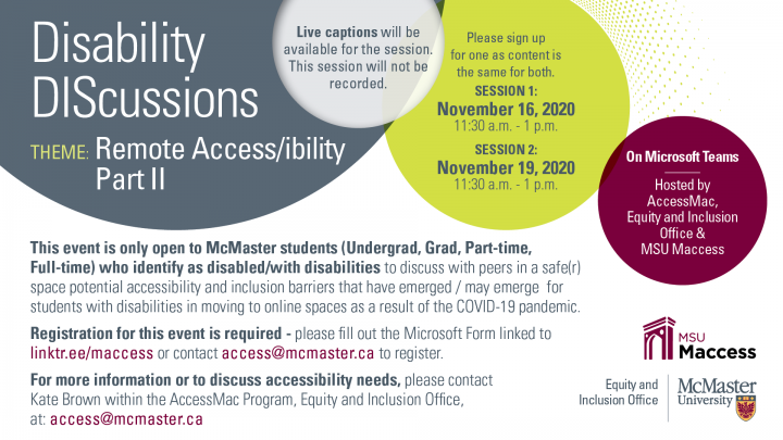 Official poster for the Disability DIScussions Remote Access/ibility Part Two event
