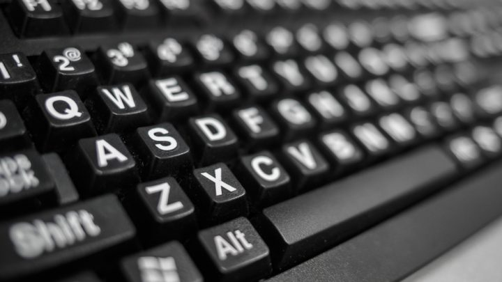 A keyboard with large letters from the Library Accessibility Services (LAS)